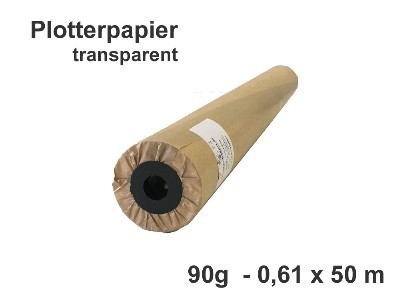 Plotterpapier hochtransparent 90g/qm Rolle 0,61 x 50 m